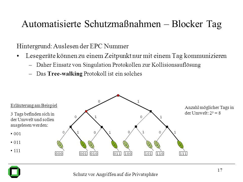 17 Automatisierte Schutzmaßnahmen – Blocker Tag Hintergrund: Auslesen der EPC Nummer Lesegeräte können zu einem Zeitpunkt nur mit einem Tag kommunizie