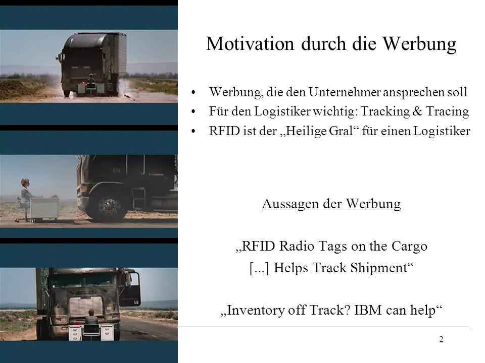 2 Motivation durch die Werbung Werbung, die den Unternehmer ansprechen soll Für den Logistiker wichtig: Tracking & Tracing RFID ist der Heilige Gral f
