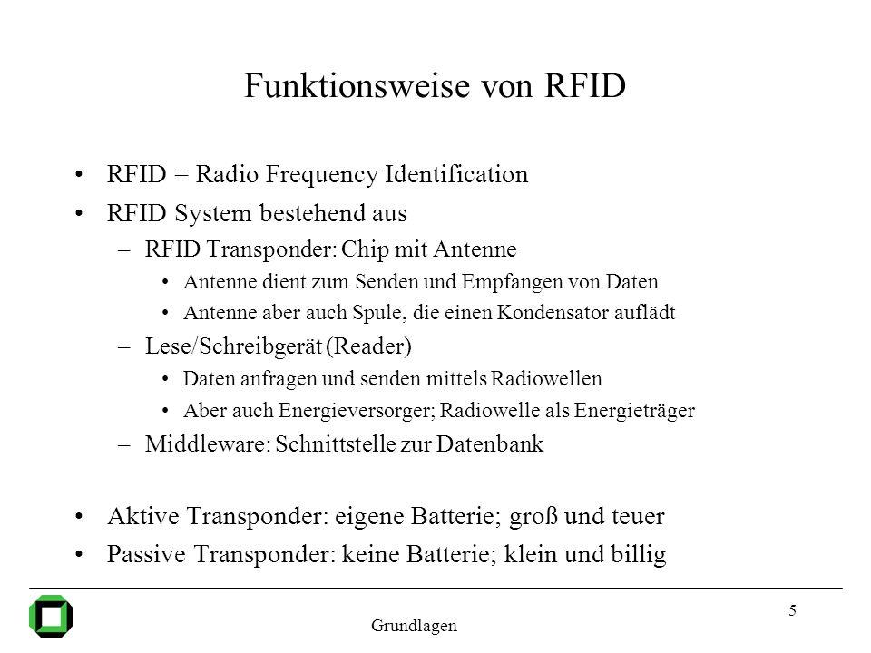 6 Unterscheidung der RFID Transponder Personenbezogene (Smartcards) teuer –geschützte Datenübertragung hat hohe Priorität –Unterstützung von Kryptografie –geringe Auslesereichweite (bis 15 cm) Objektbezogene (RFID Tags) billig –niedriger Preis hat hohe Priorität –Daher weniger Funktionalität (keine Kryptografie) –große Auslesereichweite (bis zu 10 m) Grundlagen RFID Tags kommen wegen des geringen Preises (1 Cent) für eine große Verbreitung in Frage, daher hier Gegenstand der Betrachtung