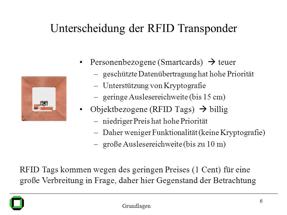 6 Unterscheidung der RFID Transponder Personenbezogene (Smartcards) teuer –geschützte Datenübertragung hat hohe Priorität –Unterstützung von Kryptogra
