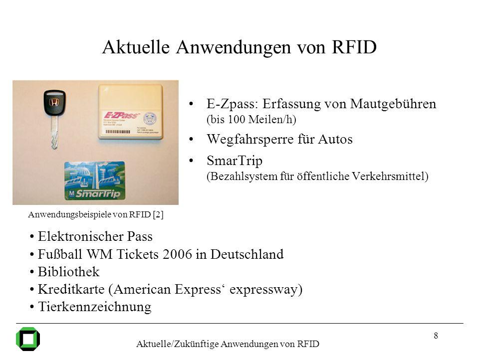 8 Aktuelle Anwendungen von RFID E-Zpass: Erfassung von Mautgebühren (bis 100 Meilen/h) Wegfahrsperre für Autos SmarTrip (Bezahlsystem für öffentliche
