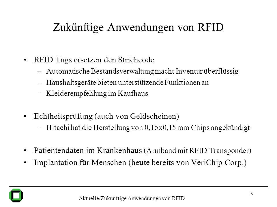9 Zukünftige Anwendungen von RFID RFID Tags ersetzen den Strichcode –Automatische Bestandsverwaltung macht Inventur überflüssig –Haushaltsgeräte biete