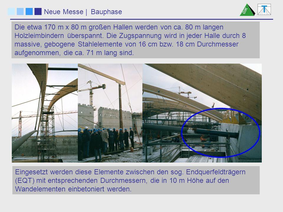 Neue Messe  Konstruktion Die Vorgabe war, diese 5.54 m langen, schweren Endquerfeldträger in ihrer windschiefen Stellung mit einer gegenseitigen Lage- und Höhengenauigkeit besser als 1mm einzurichten.