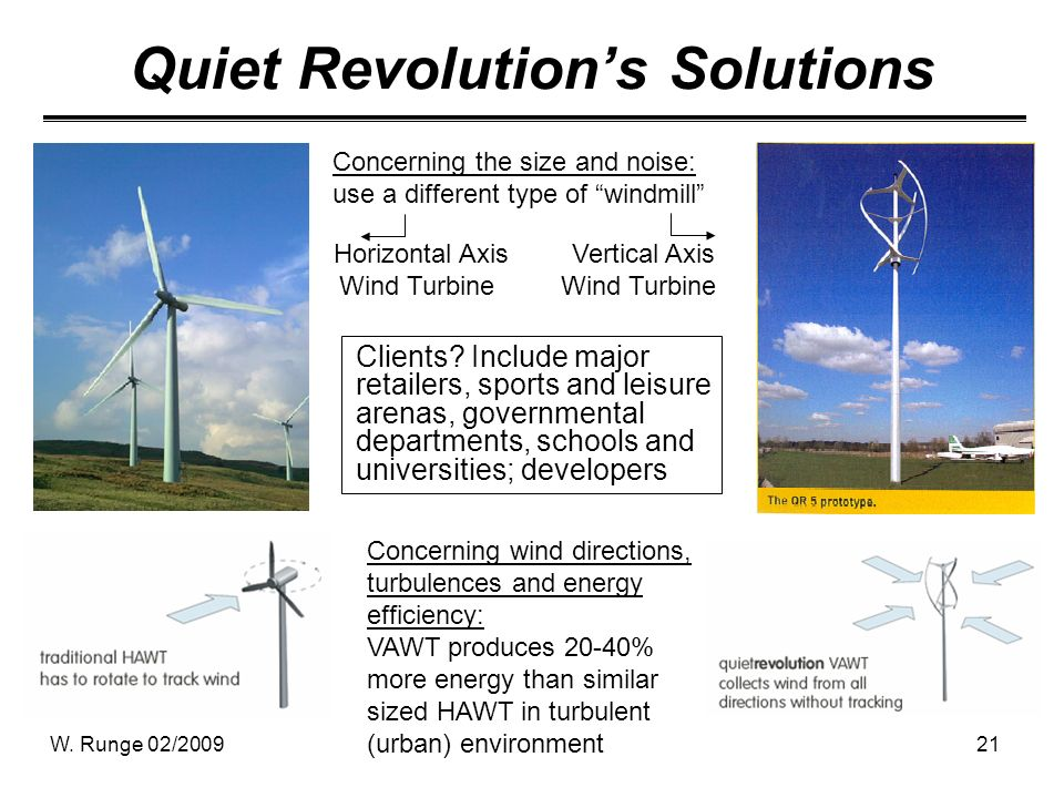 W. Runge 02/200921 Quiet Revolutions Solutions Clients? Include major retailers, sports and leisure arenas, governmental departments, schools and univ