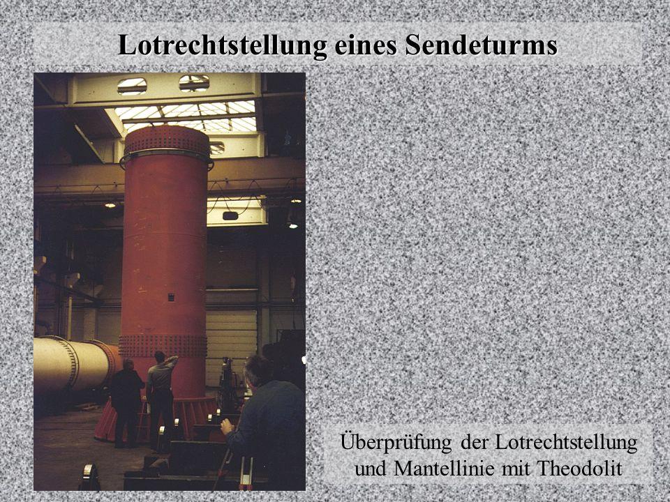 Lotrechtstellung von Sendeturm - Rohrmast Lotrechtstellung eines Sendeturms Neigungsänderung der Mantellinie