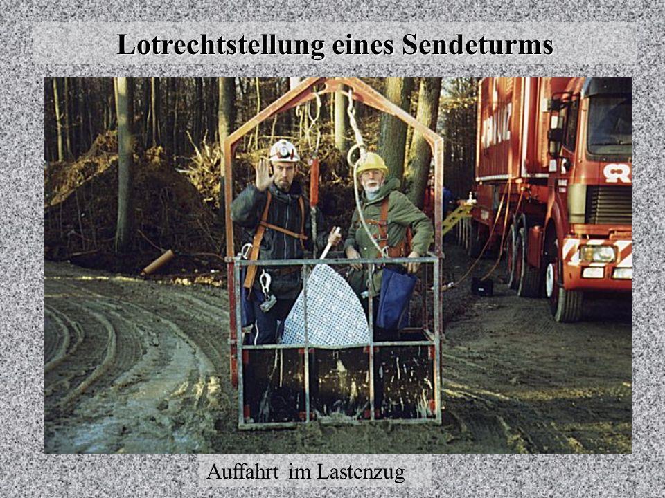 Lotrechtstellung eines Sendeturms Ursprünglich angenommene Lage der Mittelpunkte