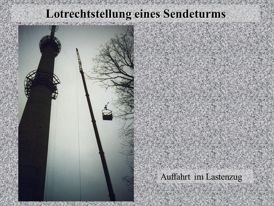 Lotrechtstellung eines Sendeturms Lage der Mittelpunkte der Schüsse im Aufriss M: Lotung mit Kern OL Z: Lotung mit Wild ZL