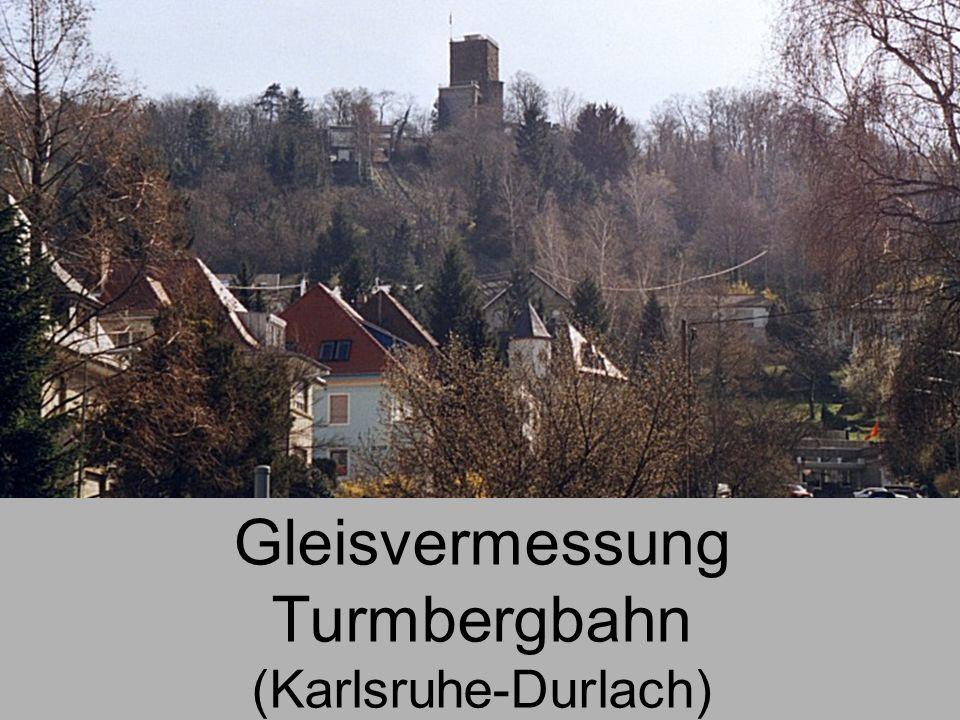 Gleisvermessung Turmbergbahn Vermessung der Gleispunkte 7 Durch Messung in zwei Lagen wurden die 3D-Koordinaten von insgesamt 107 Gleispunkten be- stimmt.