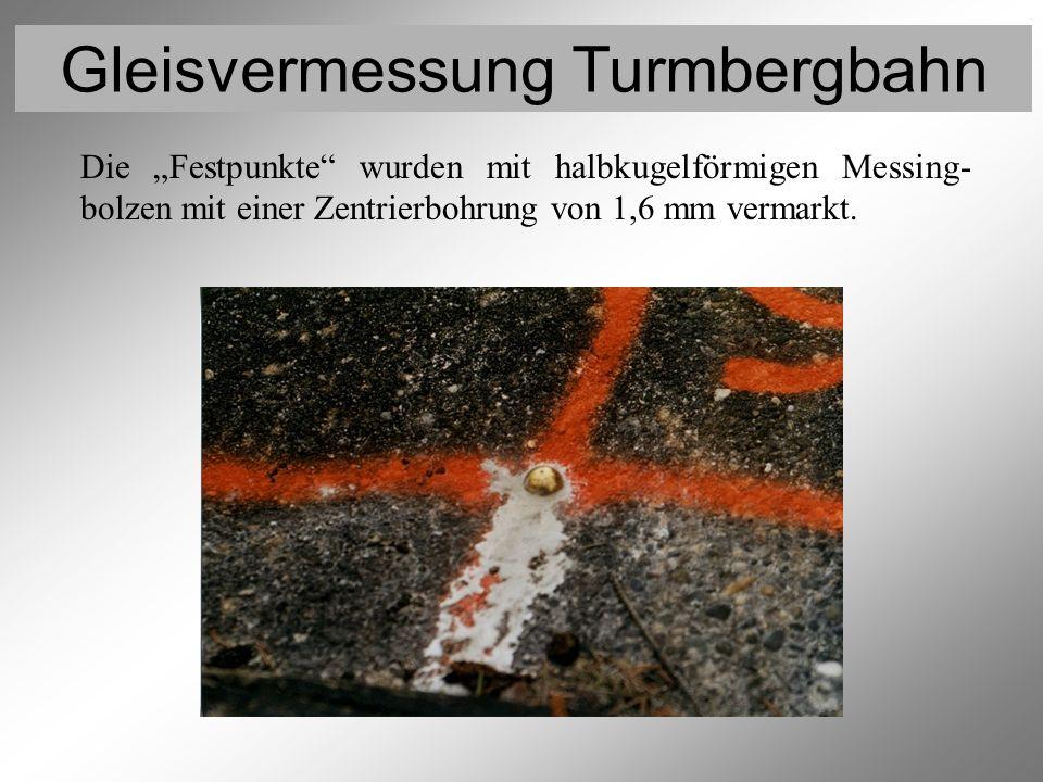 Gleisvermessung Turmbergbahn Vermarkung der Festpunkte Die Festpunkte wurden mit halbkugelförmigen Messing- bolzen mit einer Zentrierbohrung von 1,6 m
