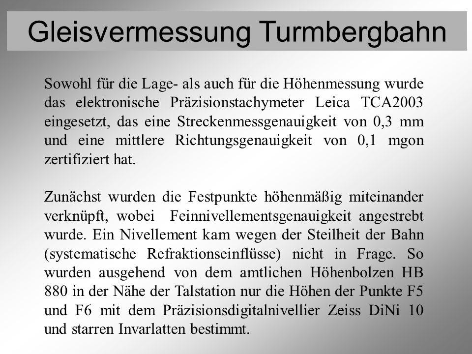 Gleisvermessung Turmbergbahn Vermessung der Festpunkte 1 Sowohl für die Lage- als auch für die Höhenmessung wurde das elektronische Präzisionstachymet