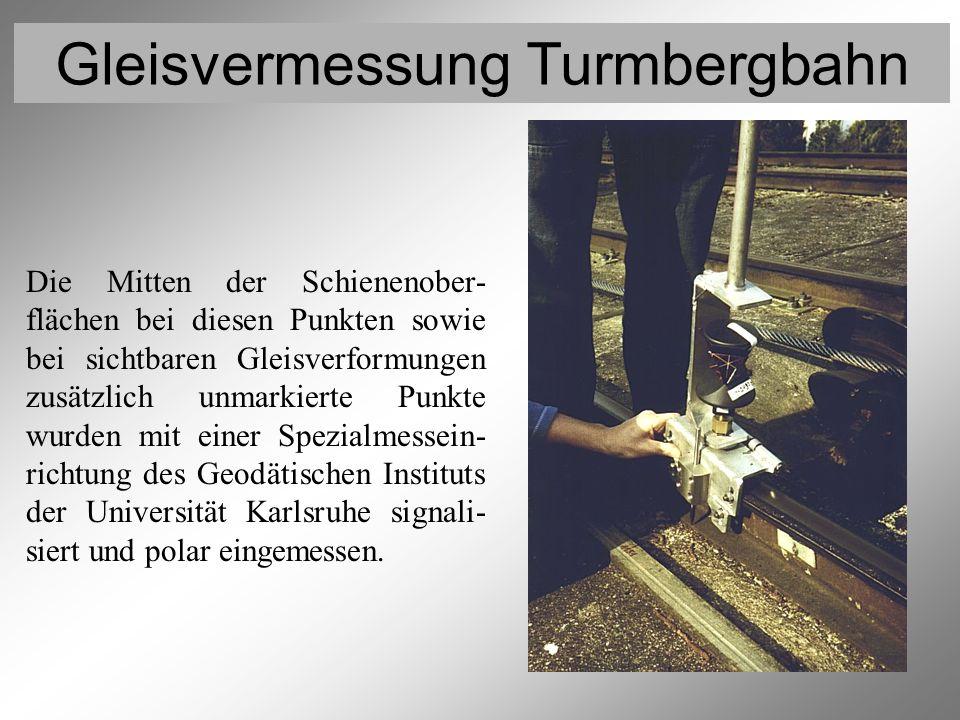 Gleisvermessung Turmbergbahn Vermessung der Gleispunkte 2 Die Mitten der Schienenober- flächen bei diesen Punkten sowie bei sichtbaren Gleisverformung