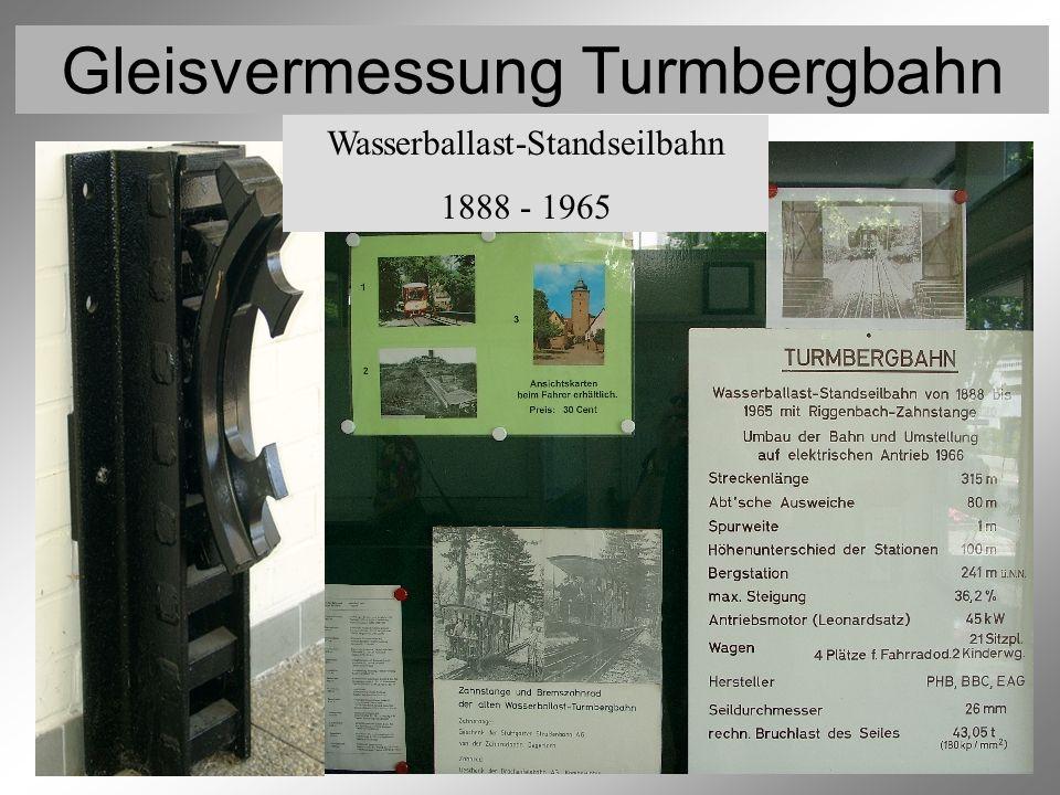 Gleisvermessung Turmbergbahn Beschreibung des Projekts 2 Die Bergbahn von Karlsruhe-Durlach auf den Turmberg wurde 1888 als Wasserballast-Standseilbahn gebaut und wird seit 1966 als seilgezogene Bahn betrieben.