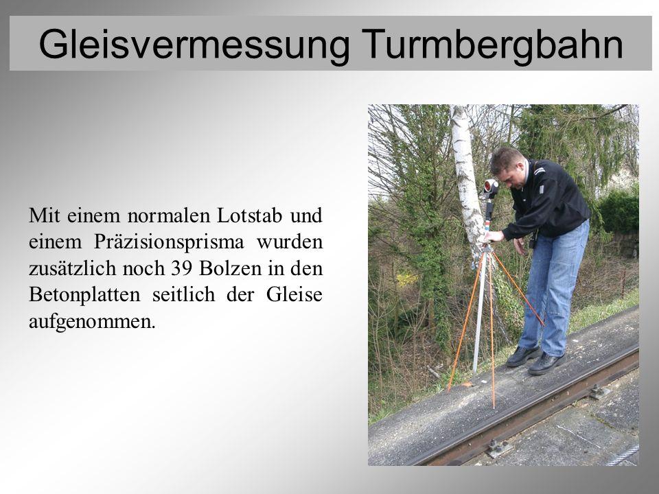 Gleisvermessung Turmbergbahn Vermessung der Gleispunkte 8 Mit einem normalen Lotstab und einem Präzisionsprisma wurden zusätzlich noch 39 Bolzen in de