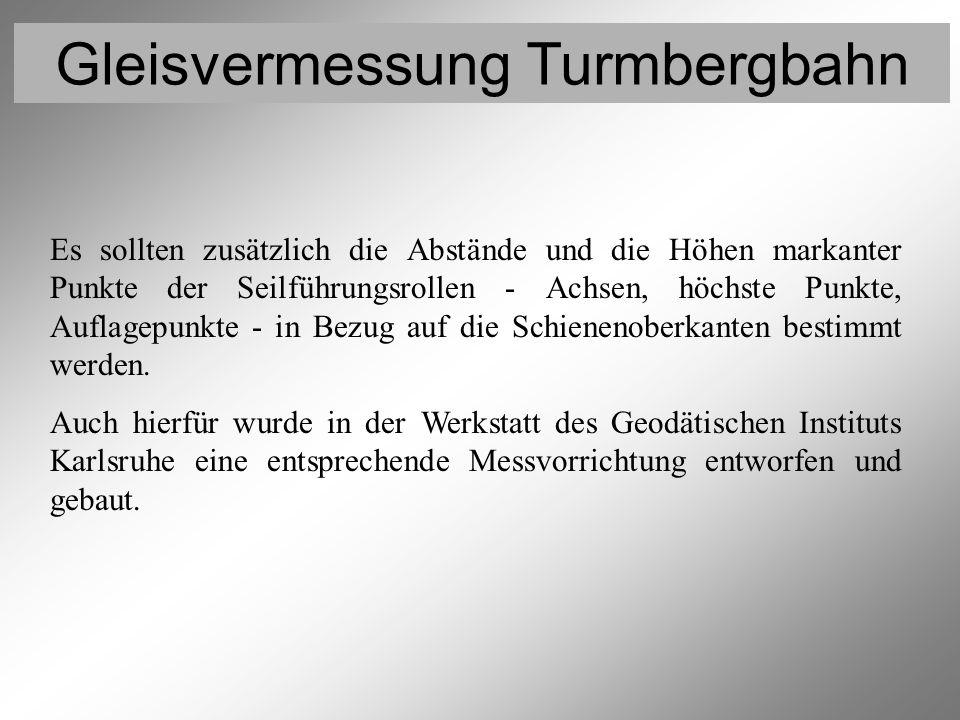 Gleisvermessung Turmbergbahn Vermessung der Rollen 1 Es sollten zusätzlich die Abstände und die Höhen markanter Punkte der Seilführungsrollen - Achsen