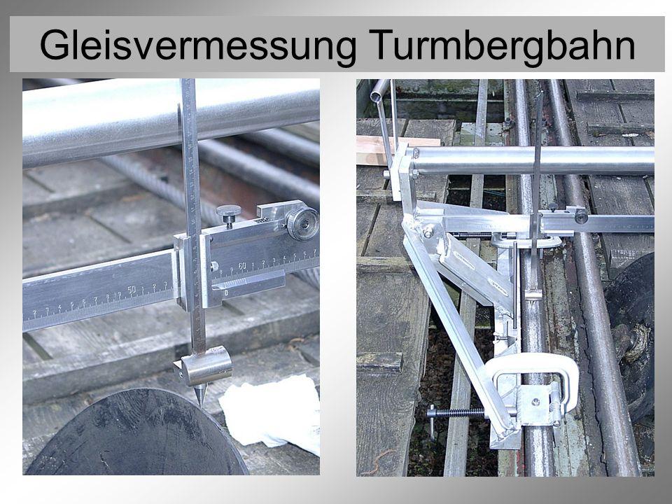 Gleisvermessung Turmbergbahn Vermessung der Rollen 4