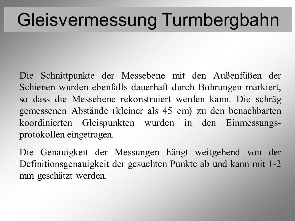 Gleisvermessung Turmbergbahn Vermessung der Rollen 7 Die Schnittpunkte der Messebene mit den Außenfüßen der Schienen wurden ebenfalls dauerhaft durch