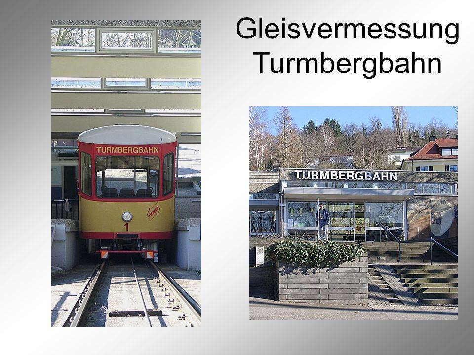 Gleisvermessung Turmbergbahn Vermessung der Gleispunkte 1 Alle 20 m (schräg, Maß- bandgenauigkeit) und ge- gebenenfalls zusätzlich in unmittelbarer Nähe der 31 Rollenlager wurde der Fuß der nördlichen und der südlichen Schiene auf der Außenseite mit einem 2 mm-Bohrer angebohrt und markiert.