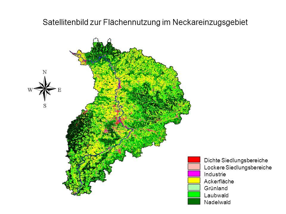 Dichte Siedlungsbereiche Lockere Siedlungsbereiche Industrie Ackerfläche Grünland Laubwald Nadelwald Satellitenbild zur Flächennutzung im Neckareinzug