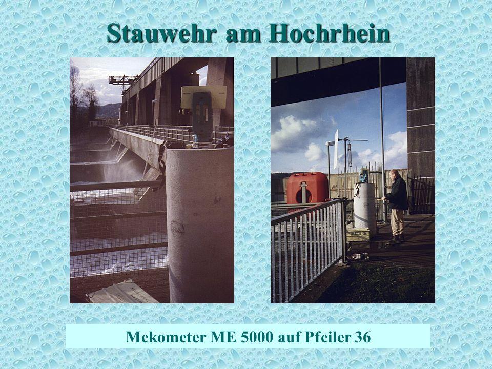 Stauwehr am Hochrhein Mekometer ME 5000 auf Pfeiler 36 Streckenmessung