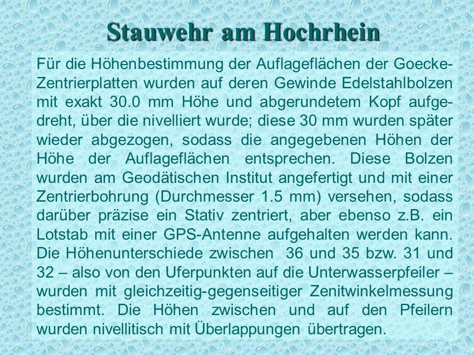 Stauwehr am Hochrhein Für die Höhenbestimmung der Auflageflächen der Goecke- Zentrierplatten wurden auf deren Gewinde Edelstahlbolzen mit exakt 30.0 m