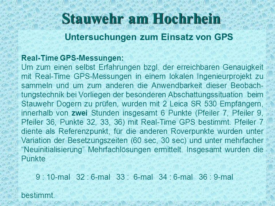 Stauwehr am Hochrhein Untersuchungen zum Einsatz von GPS Real-Time GPS-Messungen: Um zum einen selbst Erfahrungen bzgl. der erreichbaren Genauigkeit m