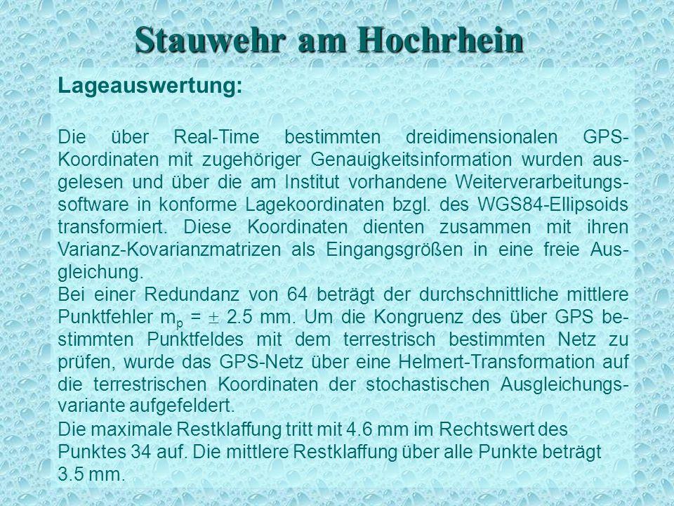 Stauwehr am Hochrhein Lageauswertung Lageauswertung: Die über Real-Time bestimmten dreidimensionalen GPS- Koordinaten mit zugehöriger Genauigkeitsinfo