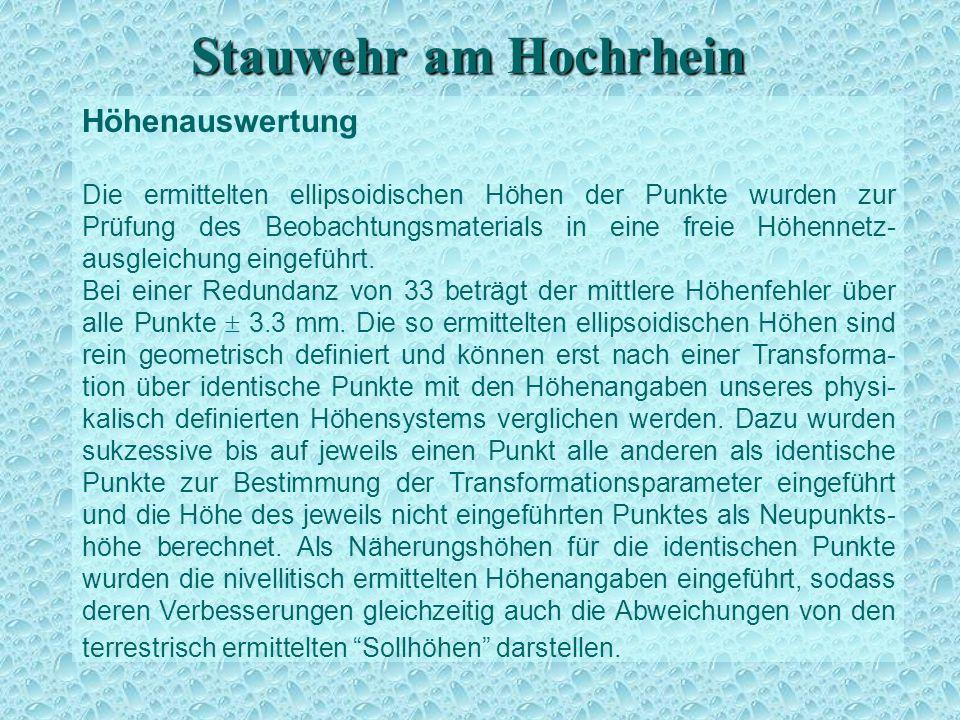 Stauwehr am Hochrhein Höhenauswertung Die ermittelten ellipsoidischen Höhen der Punkte wurden zur Prüfung des Beobachtungsmaterials in eine freie Höhennetz- ausgleichung eingeführt.