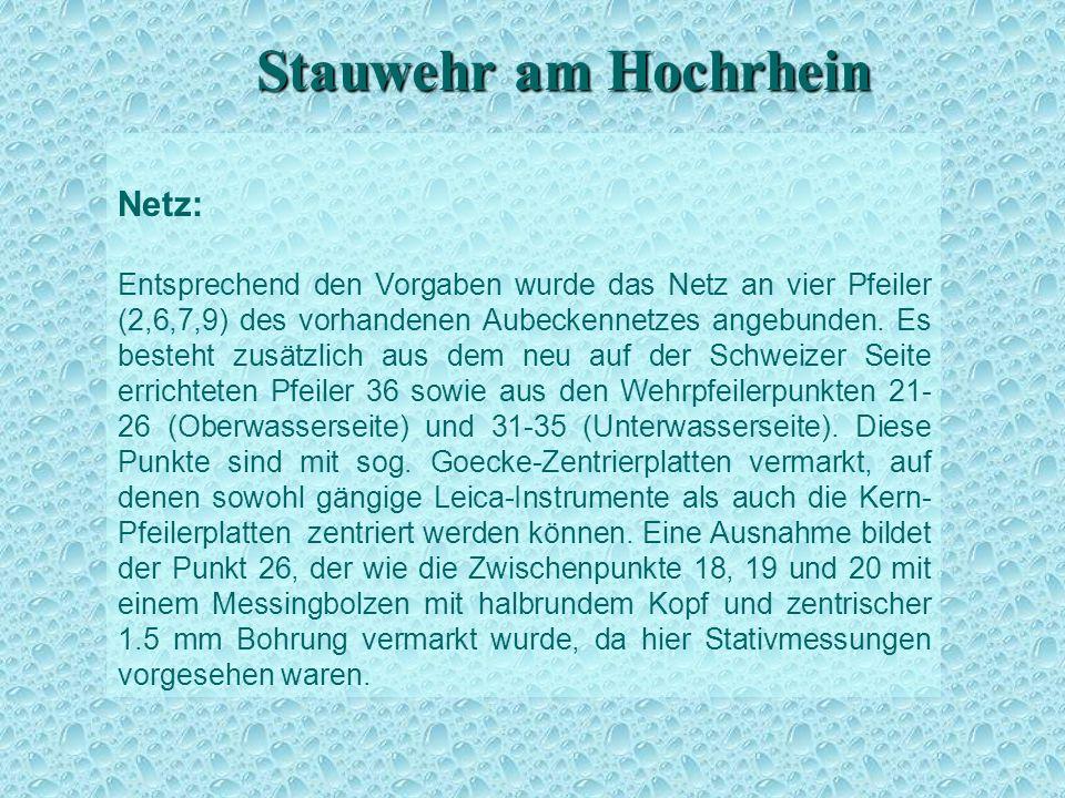 Stauwehr am Hochrhein Netz: Entsprechend den Vorgaben wurde das Netz an vier Pfeiler (2,6,7,9) des vorhandenen Aubeckennetzes angebunden. Es besteht z
