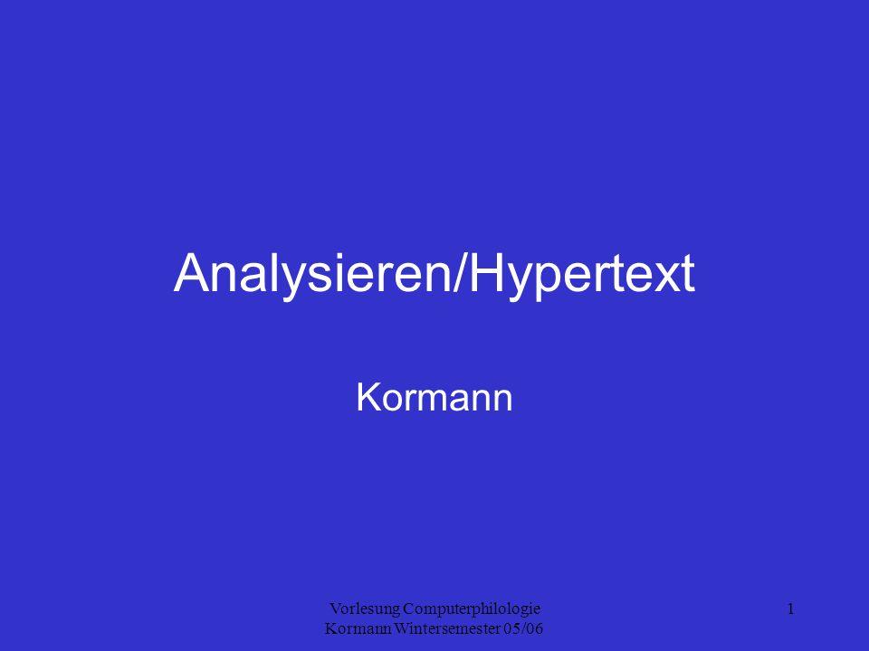 Vorlesung Computerphilologie Kormann Wintersemester 05/06 2 Plan Vorbemerkung Terminplanung Nachtrag zum Vortrag über APE und Edition Computerunterstützte Literaturanalyse Hypertext