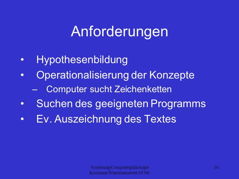 Vorlesung Computerphilologie Kormann Wintersemester 05/06 10 Anforderungen Hypothesenbildung Operationalisierung der Konzepte –Computer sucht Zeichenketten Suchen des geeigneten Programms Ev.