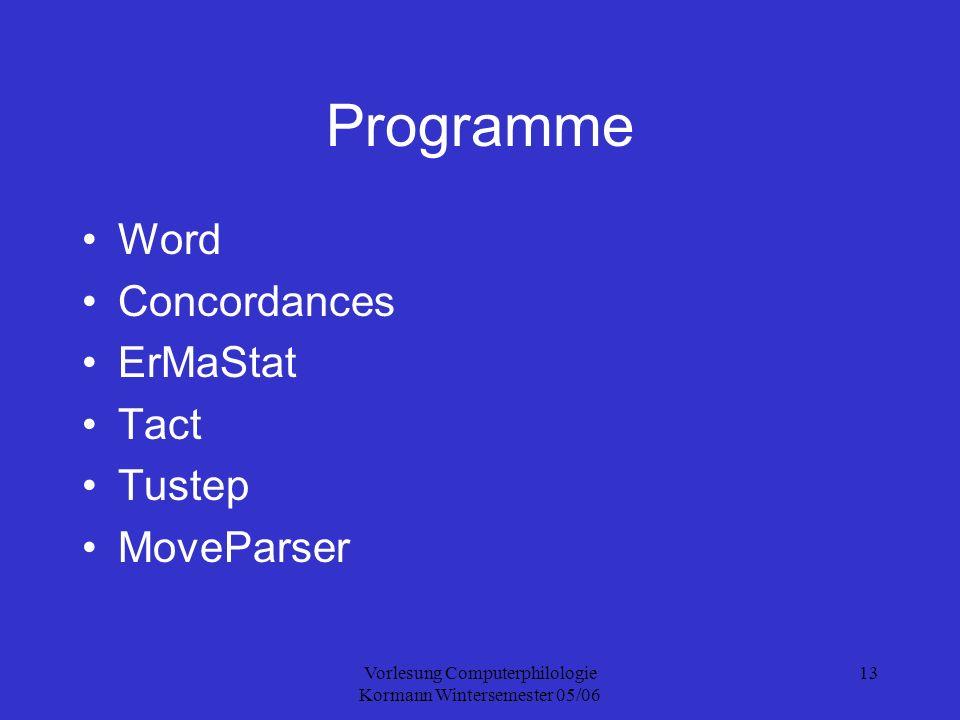 Vorlesung Computerphilologie Kormann Wintersemester 05/06 13 Programme Word Concordances ErMaStat Tact Tustep MoveParser