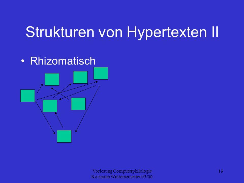 Vorlesung Computerphilologie Kormann Wintersemester 05/06 19 Strukturen von Hypertexten II Rhizomatisch