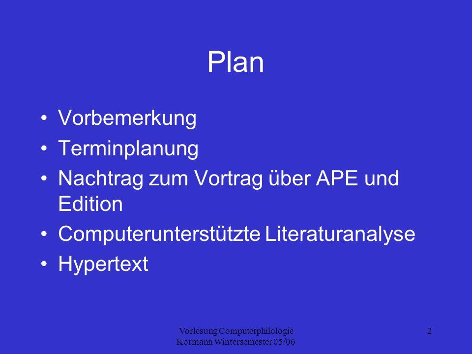 Vorlesung Computerphilologie Kormann Wintersemester 05/06 3 Termine 24.11.