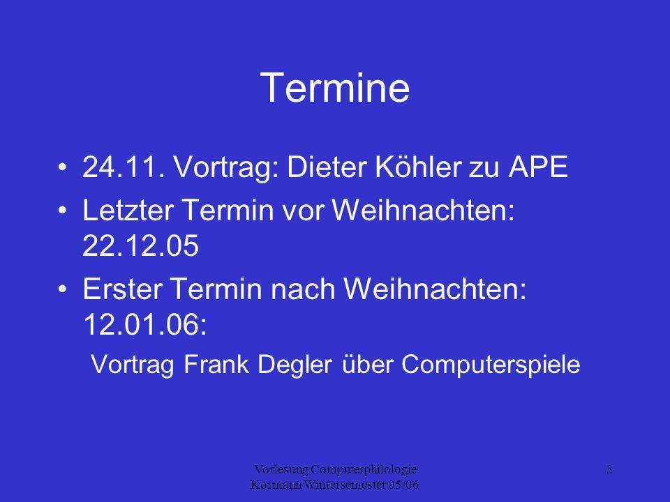 Vorlesung Computerphilologie Kormann Wintersemester 05/06 14 Beispiel Friedrich M.