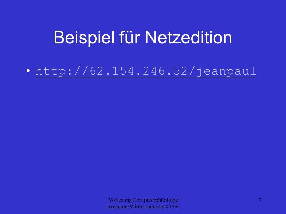Vorlesung Computerphilologie Kormann Wintersemester 05/06 7 Beispiel für Netzedition http://62.154.246.52/jeanpaul