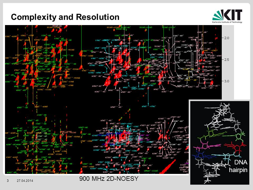 327.04.2014 IOC / IBG2 Complexity and Resolution DNA hairpin 900 MHz 2D-NOESY