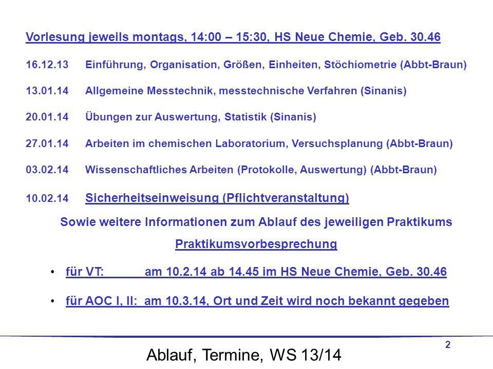 2 Vorlesung jeweils montags, 14:00 – 15:30, HS Neue Chemie, Geb. 30.46 16.12.13Einführung, Organisation, Größen, Einheiten, Stöchiometrie (Abbt-Braun)