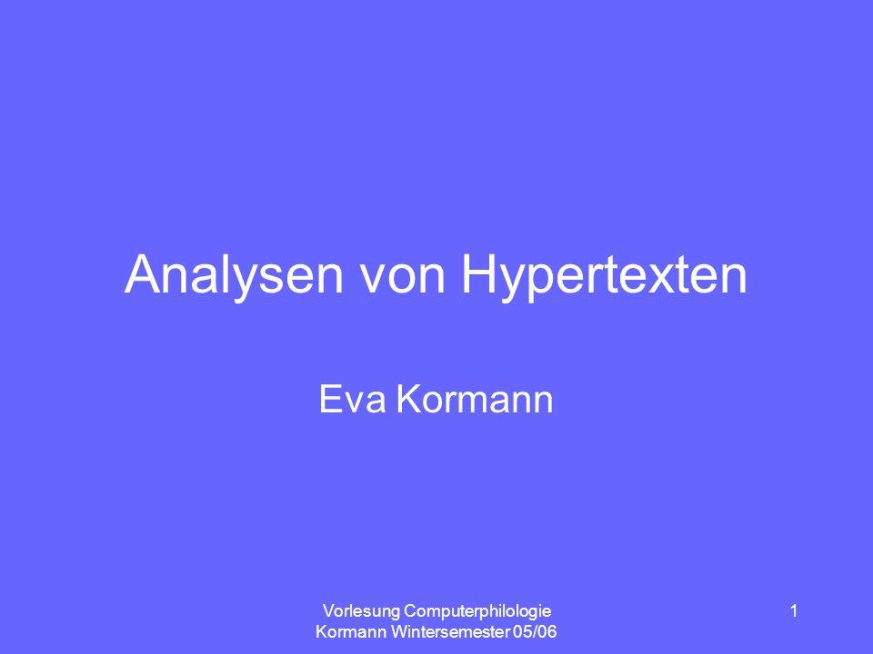 Vorlesung Computerphilologie Kormann Wintersemester 05/06 2 Plan Organisatorisches Literatur zur Vorbereitung Strukturen von Hypertexten – Analyseschritte
