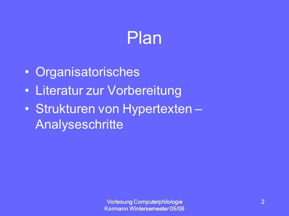 Vorlesung Computerphilologie Kormann Wintersemester 05/06 2 Plan Organisatorisches Literatur zur Vorbereitung Strukturen von Hypertexten – Analyseschr