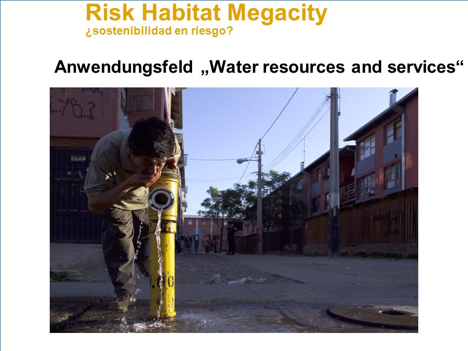 Risk Habitat Megacity ¿sostenibilidad en riesgo? Anwendungsfeld Water resources and services