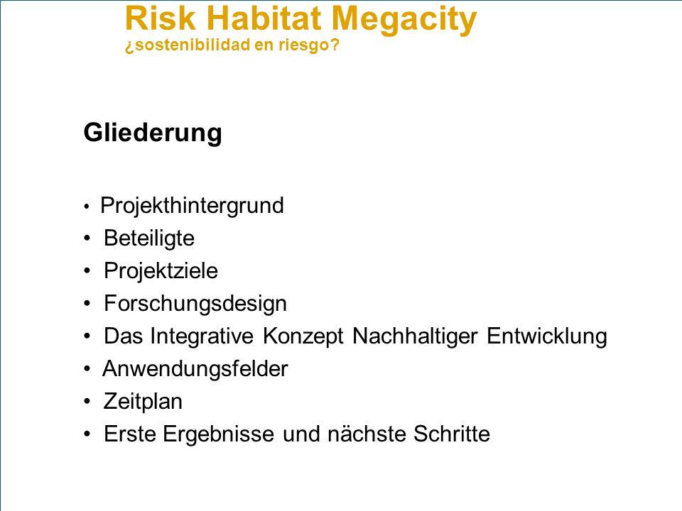 Risk Habitat Megacity ¿sostenibilidad en riesgo? Anwendungsfeld Land use management
