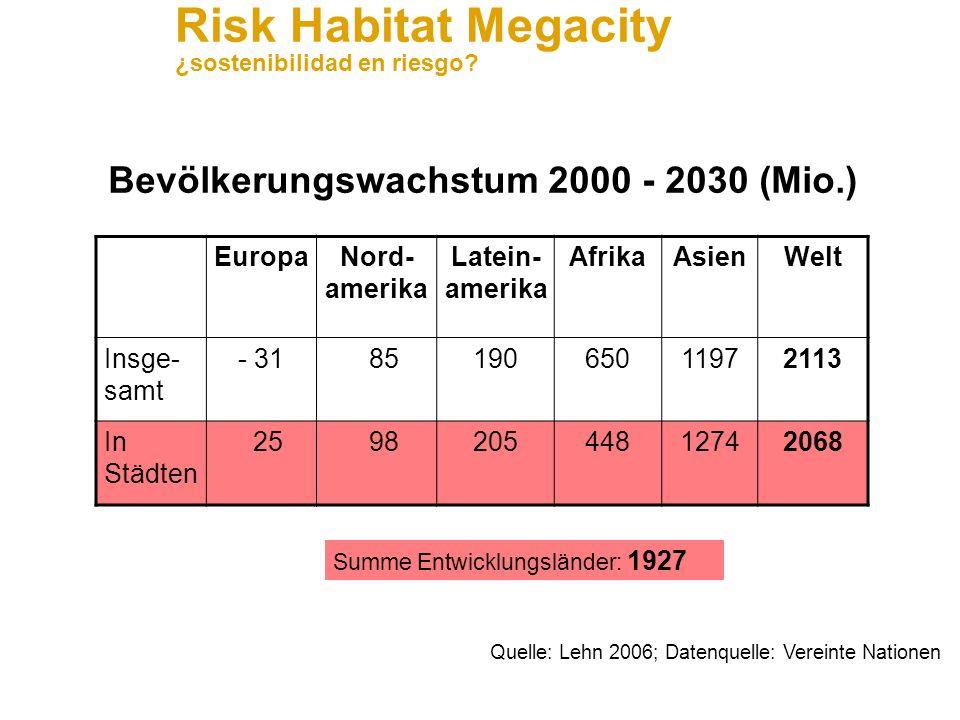 Risk Habitat Megacity ¿sostenibilidad en riesgo? Anwendungsfeld Transportation