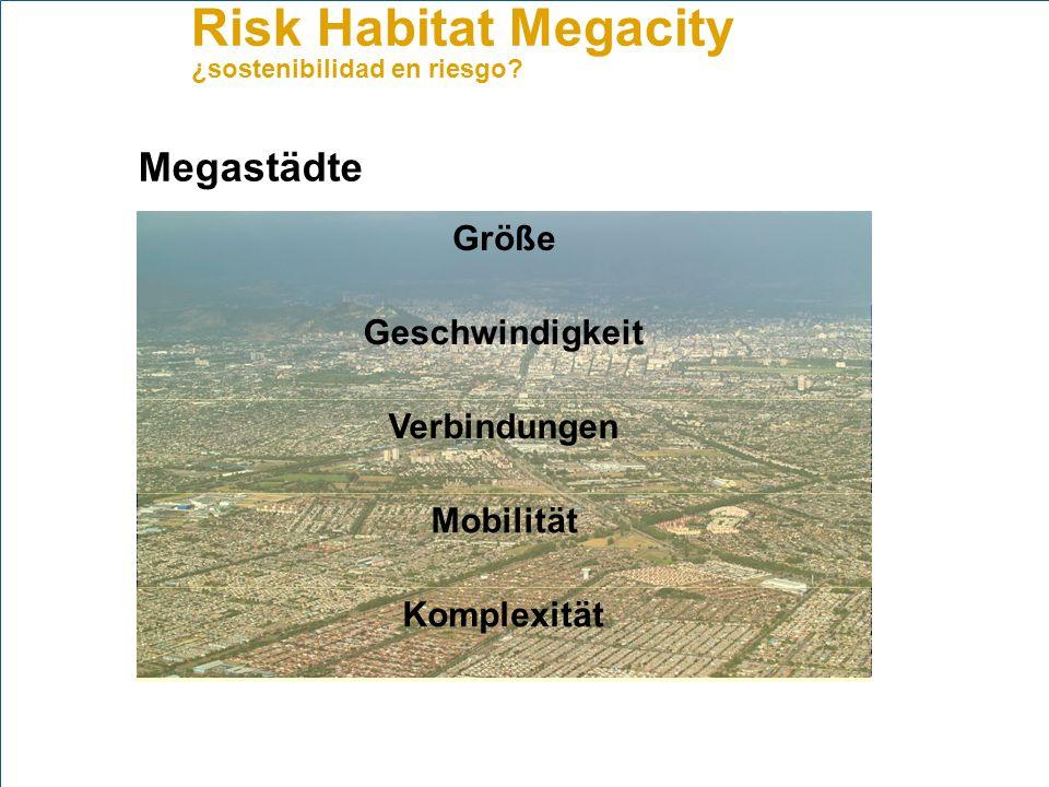Risk Habitat Megacity ¿sostenibilidad en riesgo? Anwendungsfeld Air quality and health