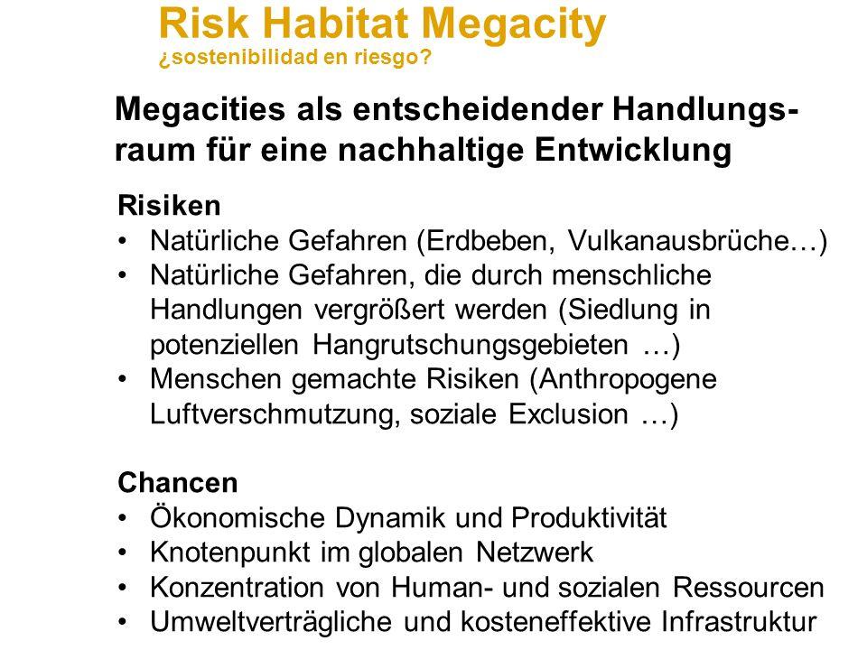Risk Habitat Megacity ¿sostenibilidad en riesgo? Anwendungsfeld Water resources and services