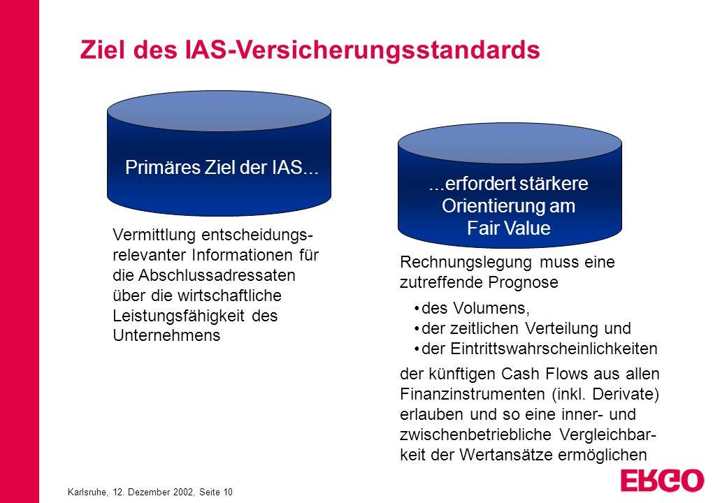 Karlsruhe, 12. Dezember 2002, Seite 10 Ziel des IAS-Versicherungsstandards Primäres Ziel der IAS... Vermittlung entscheidungs- relevanter Informatione