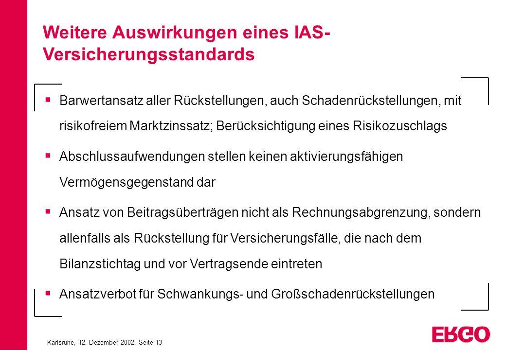 Karlsruhe, 12. Dezember 2002, Seite 13 Barwertansatz aller Rückstellungen, auch Schadenrückstellungen, mit risikofreiem Marktzinssatz; Berücksichtigun