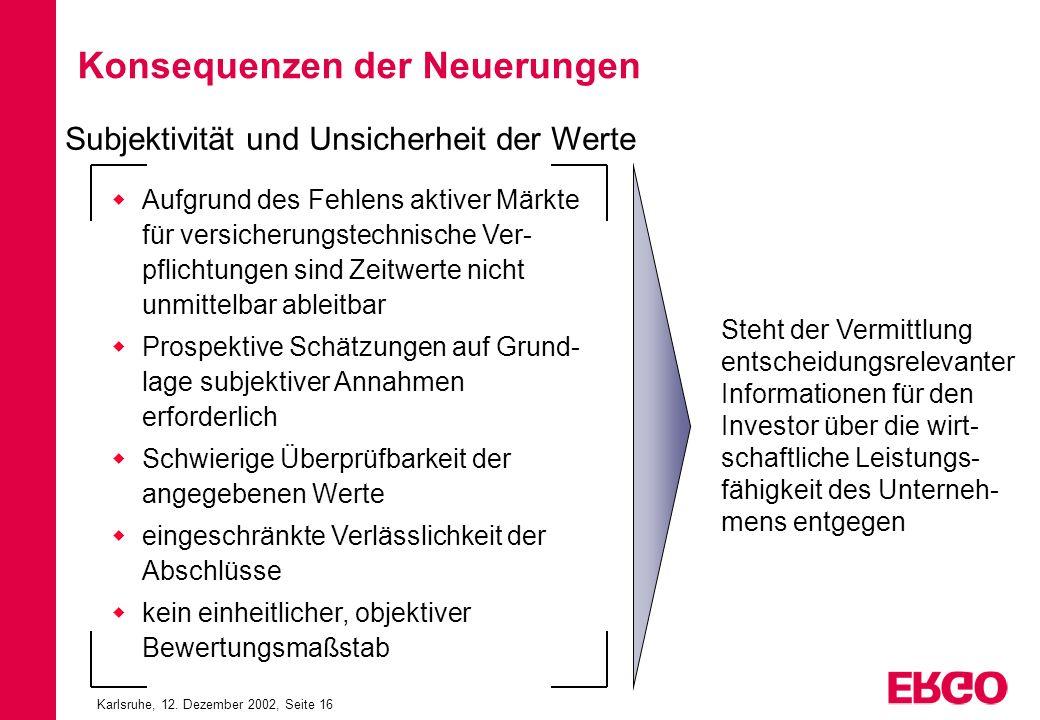 Karlsruhe, 12. Dezember 2002, Seite 16 Konsequenzen der Neuerungen Aufgrund des Fehlens aktiver Märkte für versicherungstechnische Ver- pflichtungen s