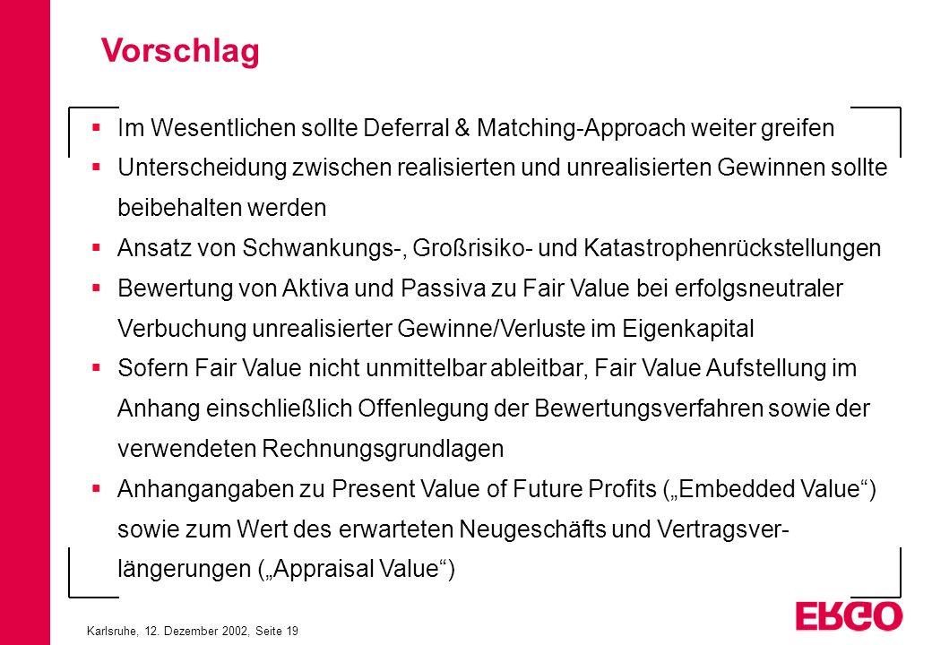 Karlsruhe, 12. Dezember 2002, Seite 19 Im Wesentlichen sollte Deferral & Matching-Approach weiter greifen Unterscheidung zwischen realisierten und unr