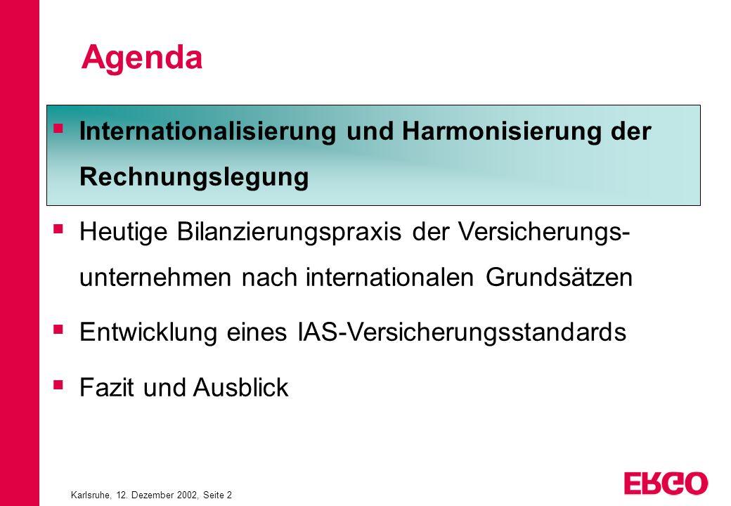 Karlsruhe, 12. Dezember 2002, Seite 2 Internationalisierung und Harmonisierung der Rechnungslegung Heutige Bilanzierungspraxis der Versicherungs- unte