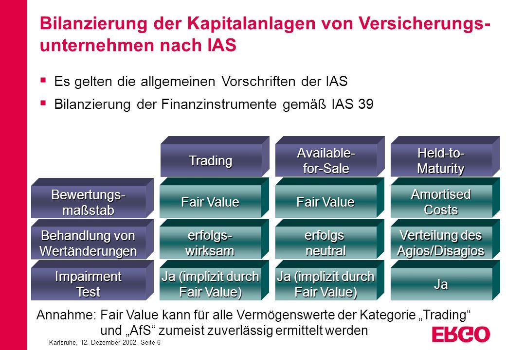 Karlsruhe, 12. Dezember 2002, Seite 6 TradingAvailable-for-SaleHeld-to-Maturity Bewertungs-maßstab Behandlung von Wertänderungen ImpairmentTest Fair V